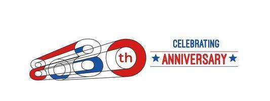 Diseño de celebración de aniversario de 80 años. Ilustración de vector de rgb de arte de línea de color 3d.