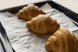 Baked croissants on tray photo