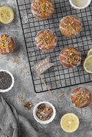Top view sugar free muffins arrangement photo