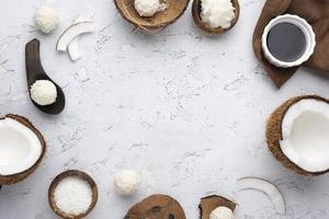 Sugar free candy with coconut flat lay photo