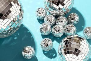 Flat lay disco globes arrangement photo