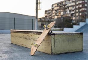 Skateboard in a skate park photo