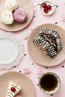 Flat lay delicious pastries arrangement photo