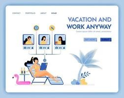 travel website with the theme of vacation and work, virtual meeting on beach with internet service on vacation Vector design can be used for poster banner ads website web marketing flyer