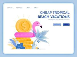 travel website with the theme of cheap tropical beach vacation enjoy holiday in excotic destination at best prices Vector design can be used for poster banner ads website web marketing flyer