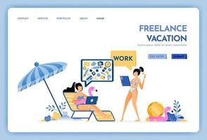 travel website with the theme of freelancer vacation keep working with internet access service at holiday Vector design can be used for poster banner ads website web mobile marketing flyer