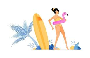 holiday illustration of woman wearing flamingo buoy and gets ready to swim, surfing board near on coconut tree vector design can be for posters banners ads websites web mobile marketing