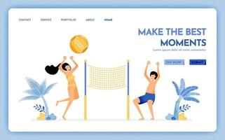 travel website with the theme of make the best moment on holiday, couple enjoying holidays by playing beach volleyball Vector design can be used for poster banner ads website web mobile flyer