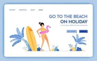 travel website with the theme of go to the beach on holiday Enjoy vacation on natural tropical island beach Vector design can be used for poster banner ads website web mobile marketing flyer