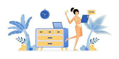 happy vacation illustration of freelance woman in swimsuit still cool to work on holiday like working at home Vector design can be used for poster banner ad website web mobile marketing