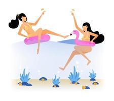 Ilustración de vacaciones felices de dos mujeres en el mar en flotadores de flamencos rosados y bebiendo champán El diseño de vector de fiesta de vacaciones divertido se puede utilizar para carteles, anuncios, sitios web, folletos móviles web