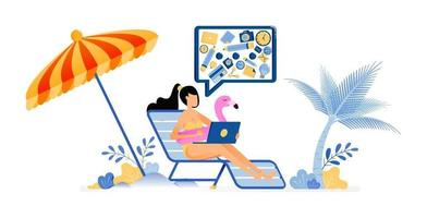happy vacation illustration of woman sunbathing on beach with umbrella, still doing her work freelancer holiday Vector design can be used for poster banner ad website web mobile