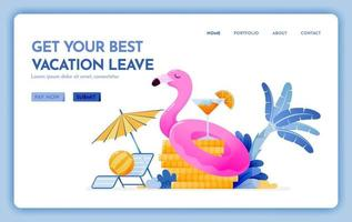 travel website with the theme of get your best vacation leave, cheap tropical beach destination for holiday Vector design can be used for poster banner ads website web mobile marketing flyer