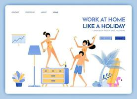 travel website with theme of work at home like holiday travel to tropical island beaches and keep working via internet Vector design can be used for poster banner ads website web mobile flyer