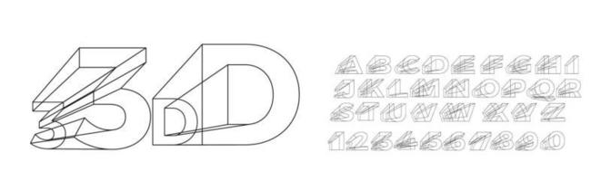 3d geometric alphabet font. Letters, numbers and symbols. vector
