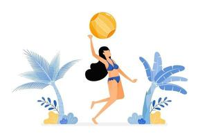 holiday illustration of woman in sexy swimsuits jumping to smash hit a volleyball on beach, sport design concept can be for poster banners ads websites web mobile marketing vector