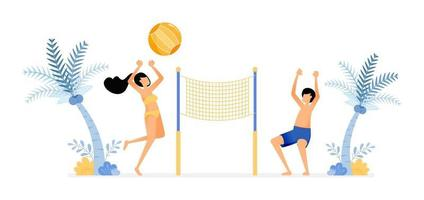 happy vacation illustration of couple enjoying a holiday on the beach by playing volleyball to unwind fun beach sports Vector design can be used for poster banner ad website web mobile marketing