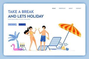 travel website with the theme of take a break and lets holiday, beach vacation trip fun service for couple Vector design can be used for poster banner ads website web mobile marketing flyer