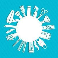 Banner redondo para peluquería con lugar para texto. vector
