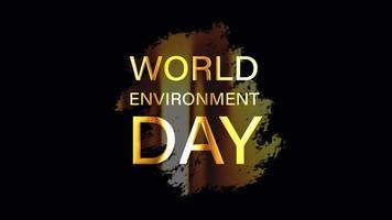 animação de texto ouro do dia do meio ambiente mundial video