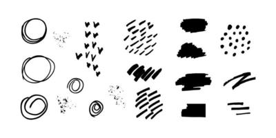 set of elements in grunge style on white background vector