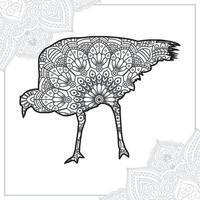 Ostrich Mandala. Vintage decorative elements. Oriental pattern, vector illustration.