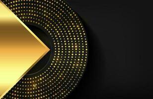 Fondo geométrico 3d con elemento dorado brillante Ilustración geométrica vectorial de formas doradas texturizadas con puntos dorados brillantes vector