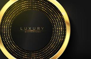 Realistic 3d background with shiny gold circle shape Vector golden circle shape on black surface Graphic design element