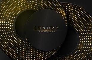 Luxury elegant background with shiny gold circle element and dots particle on dark black metal surface vector