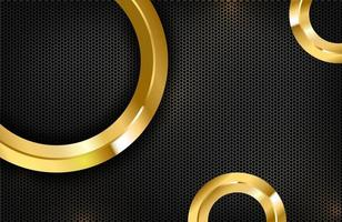 Luxury elegant background with shiny gold circle element on dark black carbon surface vector