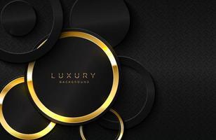fondo 3d realista con forma de círculo dorado brillante forma de círculo dorado vectorial en elemento de diseño gráfico de superficie negra vector