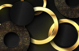 Fondo elegante de lujo con elemento de círculo dorado brillante y partículas de puntos en una superficie de metal negro oscuro vector