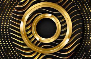 Fondo realista 3d de lujo con forma de círculo dorado ilustración vectorial de formas de círculo negro texturizadas con líneas onduladas doradas vector