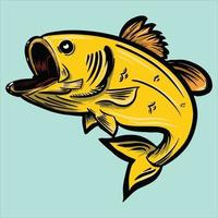 yellow fish leaping vector illustration