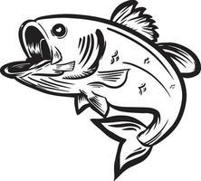 black white vector illustration of fish leaping