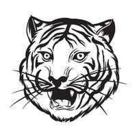 Angry tiger head is roaring black and white illustration vector