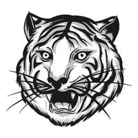 illustration of tiger head with shadow black and white vector