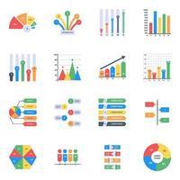 Graphs in Editable Style vector