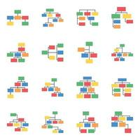 Hierarchy Charts Flat Icons vector