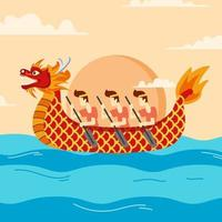 Chinese festival with several people participating in the dragon boat race vector