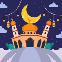 Eid Mubarak with Flat Mosque vector