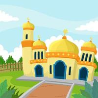 Flat Eid Mubarak Beautiful Mosque vector