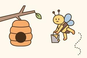 A cute bee is carrying honey in a bucket and bringing it home vector