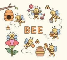 Cute bees collecting honey vector