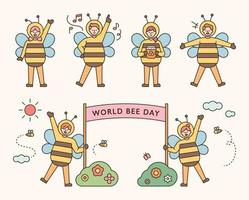 People in bee costumes for World Bee Day vector