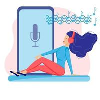 podcast girl set vector