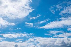 beautiful blue sunny sky with white clouds and copy space photo
