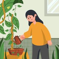 Watering Plants at Home vector
