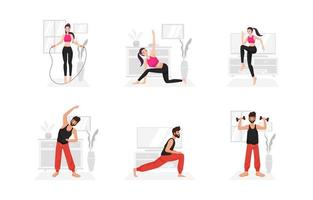 Workout at Home During Pandemic vector