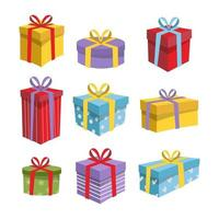 Colorful Gift Box Element in Flat Design vector